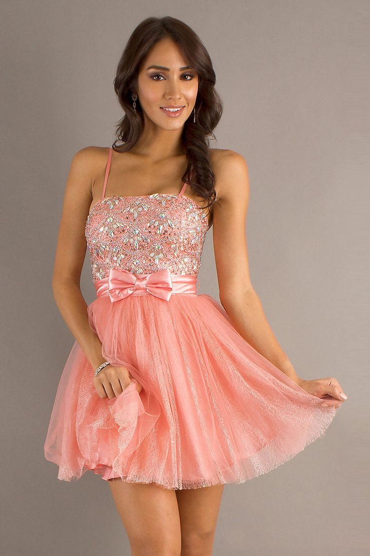2014 Faddish Homecoming Dresses Strapless A Line Spaghetti Straps Short/Mini With Beads And Bow Knot