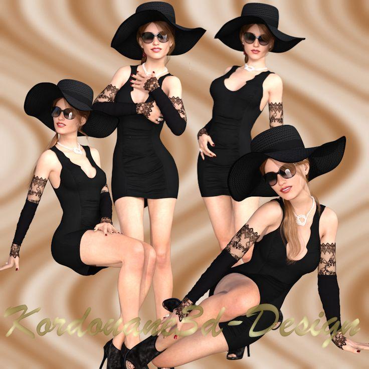 Rihanna : 4 tubes de femme BCBG en noir
