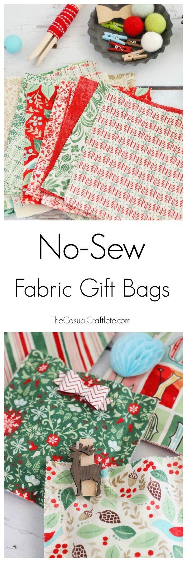 Create your own No-Sew Fabric Gift Bags that are perfect for gift giving this holiday season.
