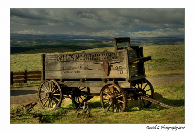 Old horse drawn wagon at The Dalles Mountain Ranch by Garry Liddell