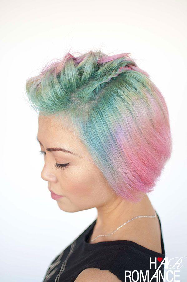 Hair Romance - Unicorn hair and faux hawk braids in short hair