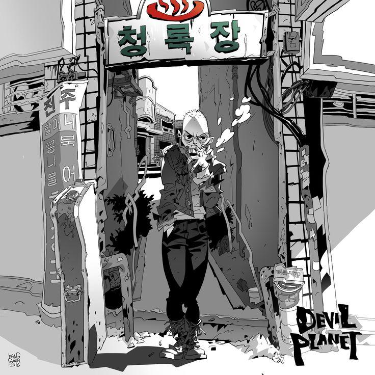 Devil Planet character KangGoon. facebook.com/kanggoonart facebook.com/devilplanet #art #characterdesign #desert #drawing #inking #korean #smoking #shavedhead  #sketch #ink #logo #devilplanet #kanggoon