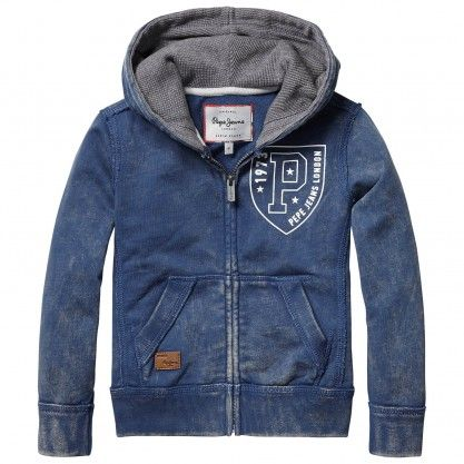 Buy hooded sweatshirt with emblem and logo   Pepe Jeans London