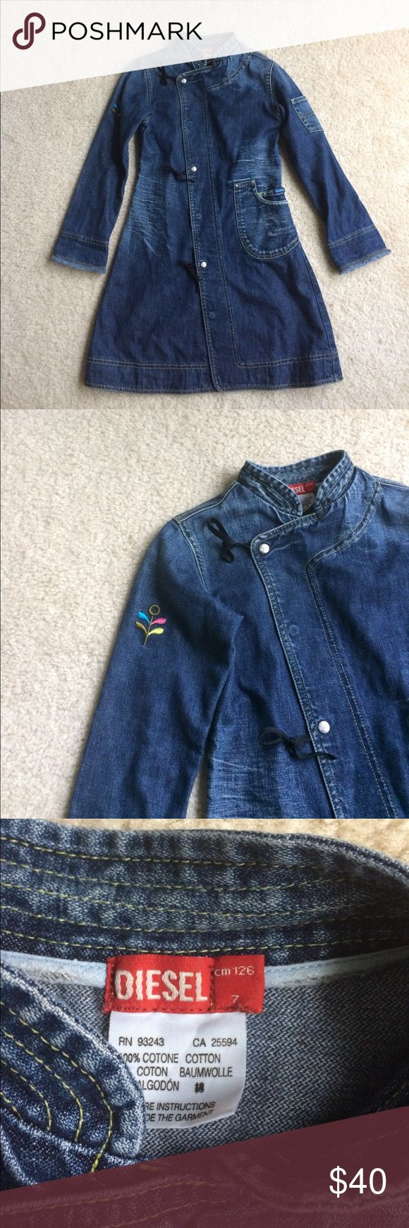 Girls Diesel denim jacket Girls Diesel jacket • denim material • long • frayed sleeve edge • distressed look • snap button closure • 3 decorative ribbon-tie • left side pocket • 10/10 excellent condition • fast same/next day shipping Diesel Jackets & Coats Jean Jackets