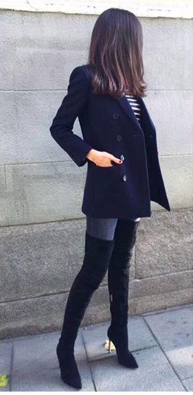 Very smart and feminine. Black peacoat, thigh high suede stiletto boots, jeans and stripped blouse.