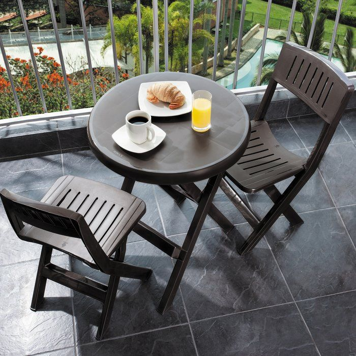Outdoor 3 Piece Bistro set includes a folding table with two folding chairs in Wenge. The set is made of durable polypropylene resin. Ideal for decks, patios and outdoor parties. Easily folds for taking on camping trips.