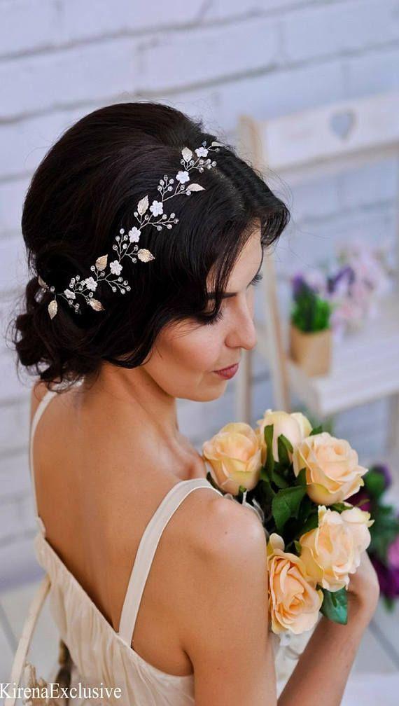 Braut Krone Hochzeit Haar Rebe Weisse Blume Krone Hochzeit Blume