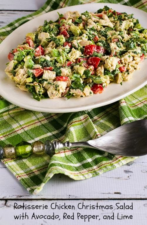 Rotisserie Chicken Christmas Salad with Avocado, Red Pepper, and Lime (Low-Carb, Gluten-Free)