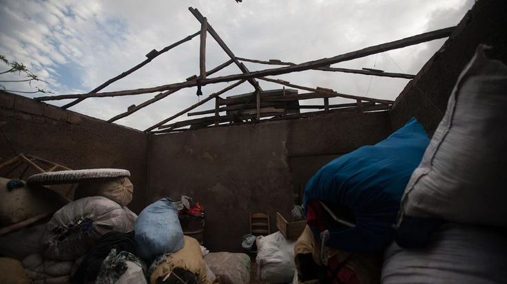 A damaged roof is seen in southern Haiti where Hurricane Matthew wrecked havoc in early October. (Bahare Khodabande / weather.com)