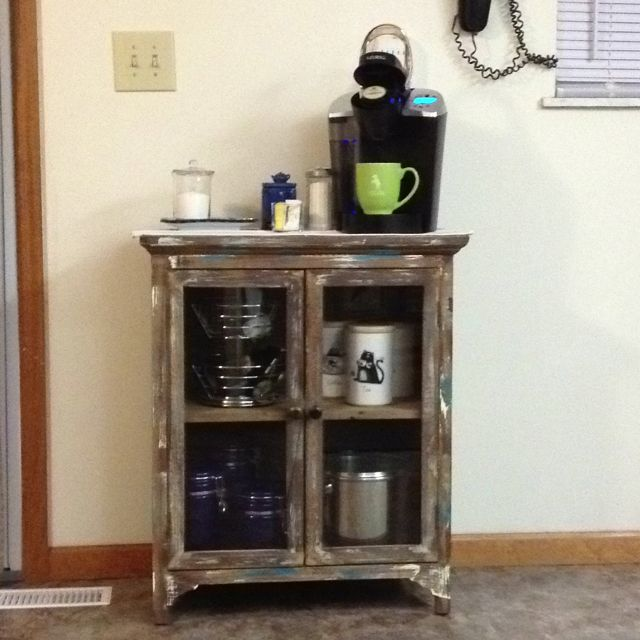 Coffee station, using rustic looking cabinet from Home Goods store (Marshals).