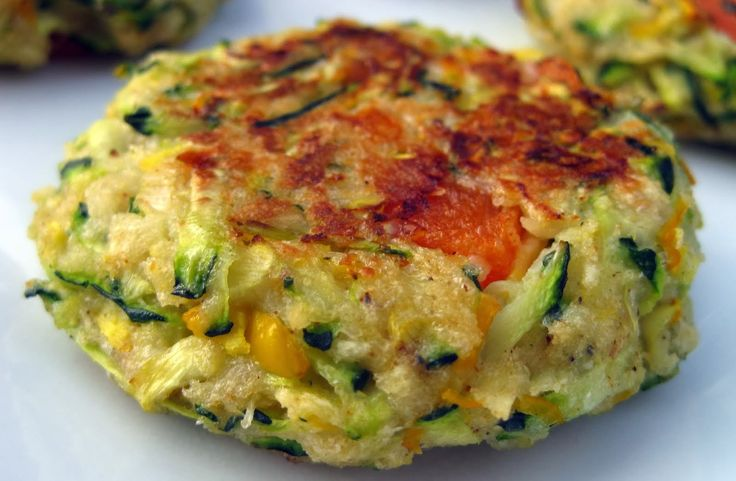 Zucchini cakes - make vegan by subbing parmesan for nutritional yeast and subbing egg for 1 Tbsp ground flax + 3 Tbsp water and letting them set for 5 minutes.