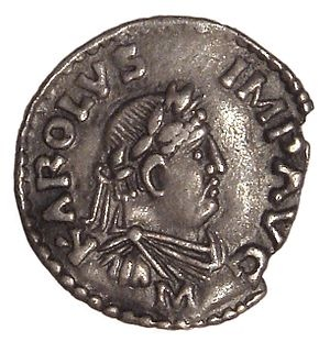 CHARLAMANGE COIN - Charlemagne 742-814 becomes King of the Franks (768). The Franks were converted to Christianity by Irish monks. Charlemange surrounded himself with Celtic scolars at his court in Aachen. On the death of his father Pippin, Charlemagne (Latin: Carolus Magnus or Karolus Magnus, meaning Charles the Great) became King of the Franks. Charlemagne expanded the Frankish kingdoms into a Frankish Empire that incorporated much of Western and Central Europe.