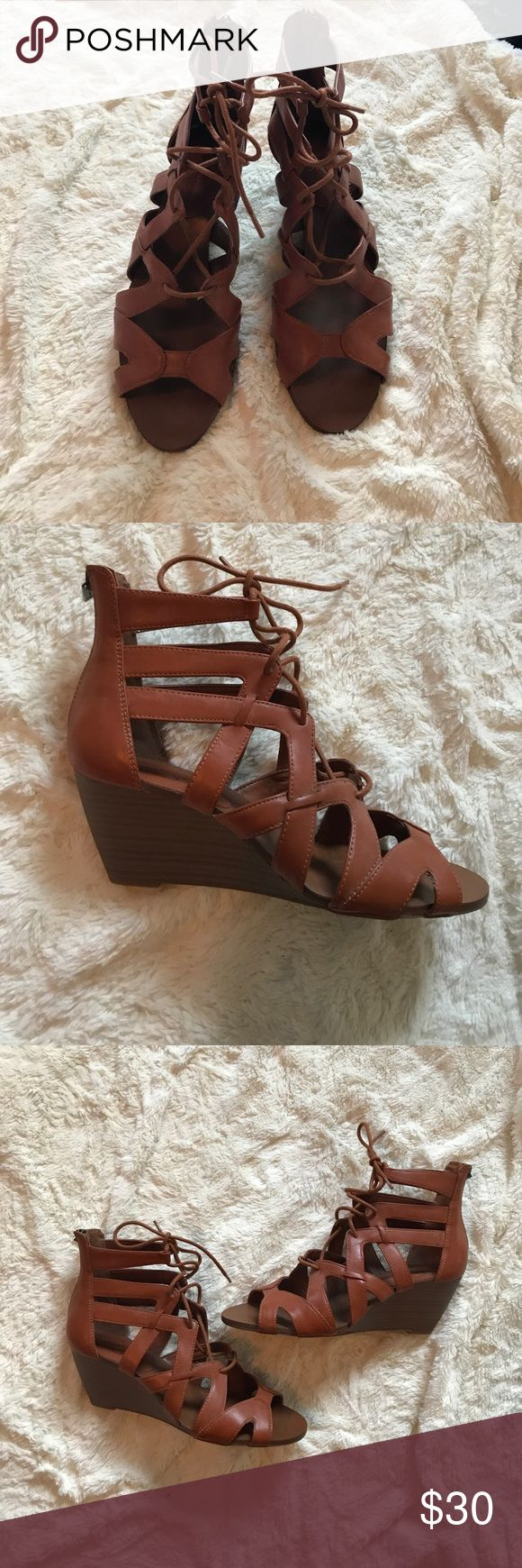 Jessica Simpson wedge sandals NWOT Jessica Simpson wedge sandals. Cognac color. Lace up with zip in the back. Size 7.5. New without tags Jessica Simpson Shoes Sandals