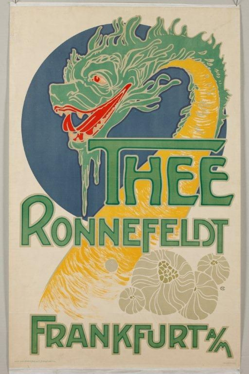 Hans Christiansen, a well-known Art Nouveau artist from the Mathildenhöhe in Darmstadt created this advertising poster with the dragon's head as a symbol for Chinese tea in 1904.