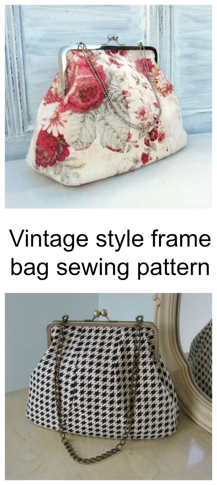 Vintage style frame bag sewing pattern. Buy this pattern and make a medium sized bag that has a vintage look.