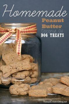 Homemade Peanut Butter Dog Treats   easy to make dog treats using peanut butter and coconut oil! See more on TodaysCreativelife.com