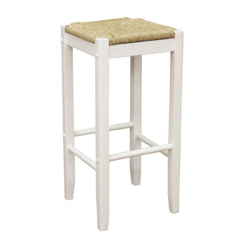 Rattan White Counter Height Stool American Heritage
