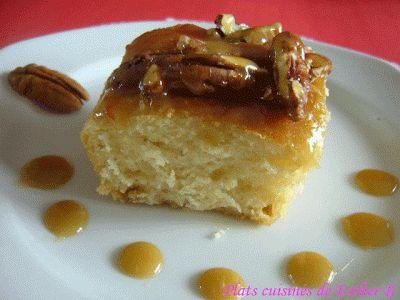 Les plats cuisinés de Esther B: Brioches aux pacanes et au caramel