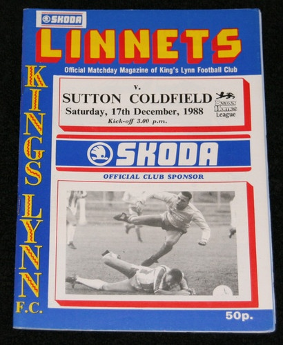 Home, Kings Lynn FC v Sutton Coldfield Town 17/12/1988  Southern league.
