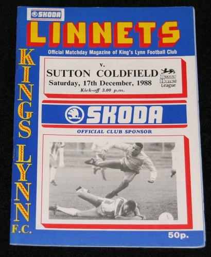 Home, Kings Lynn FC v Sutton Coldfield Town 17/12/1988  Southern league.