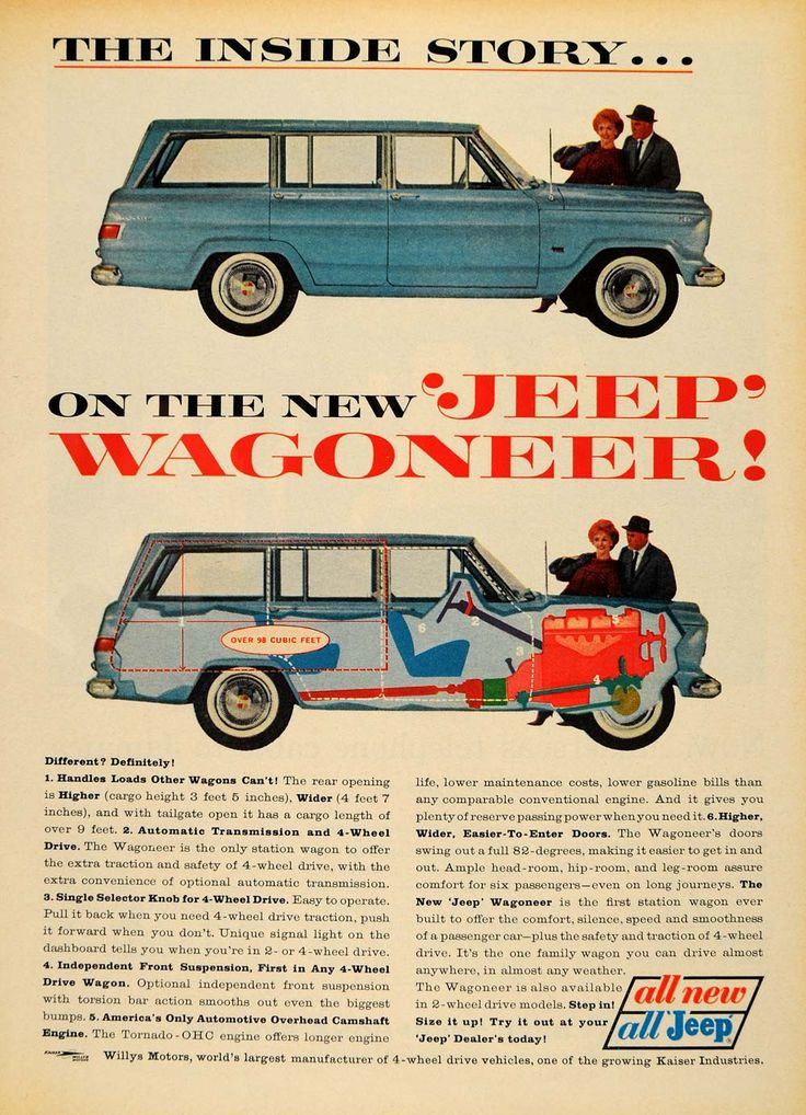 This is an original 1963 color print ad for the Jeep Wagoneer, a station wagon with an overhead camshaft engine. CONDITION This 48+ year old Item is rated Near Mint / Very Fine. Heavy aging in margins
