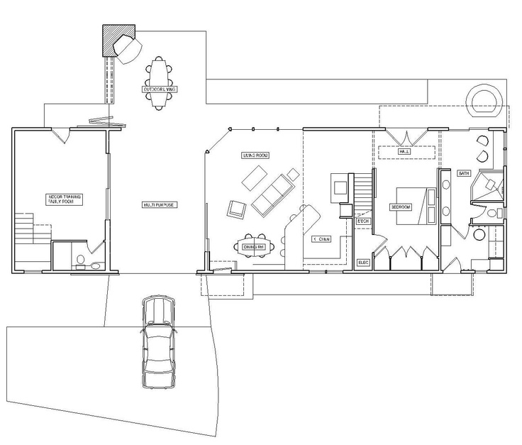 This dog trot floor plan is really close to the ideal for Small dog trot house plans