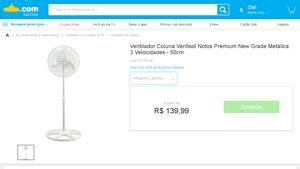 [Submarino] Ventilador Coluna Ventisol Notos Premium New Grade Metálica 3 Velocidades - 50cm - de R$ 145,33 por R$ 123,19 (15% de desconto)