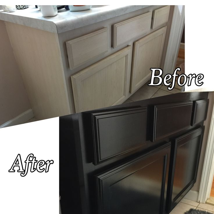 Desided my bathroom cabinets needed a change so I fixed them up and painted them black