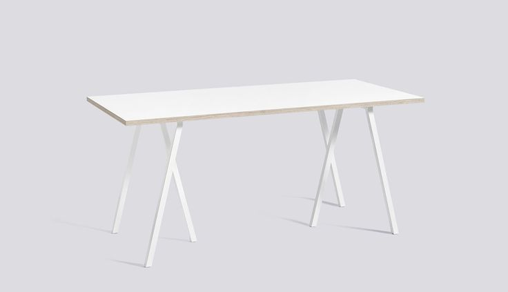 Loop Stand Table White L160 x W77,5 x H74 White laminate / Plywood edge - HAY