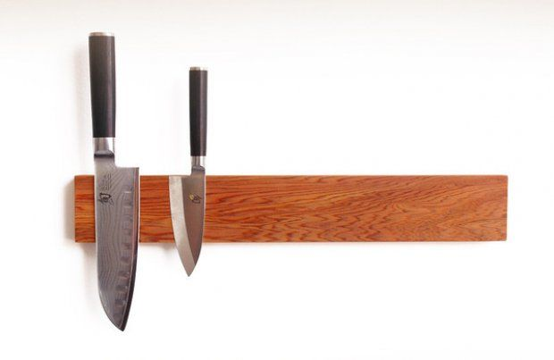 """Sourced from 20th century water towers, the wood, reclaimed and repurposed by hand for Uusi's sleek, magnetized """"Puukko"""" knife racks is over 300 years old. Choose from Cypress or Redwood. $125: Water Towers, Magnets Puukko, Knife Storage, Knife Magnets, Kitchens Ideas, Knife Block, Cypress Wood, Kitchens Gadgets, Knife Racks"""