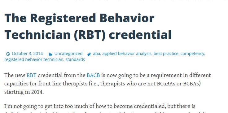 The registered behavior technician rbt credential aba