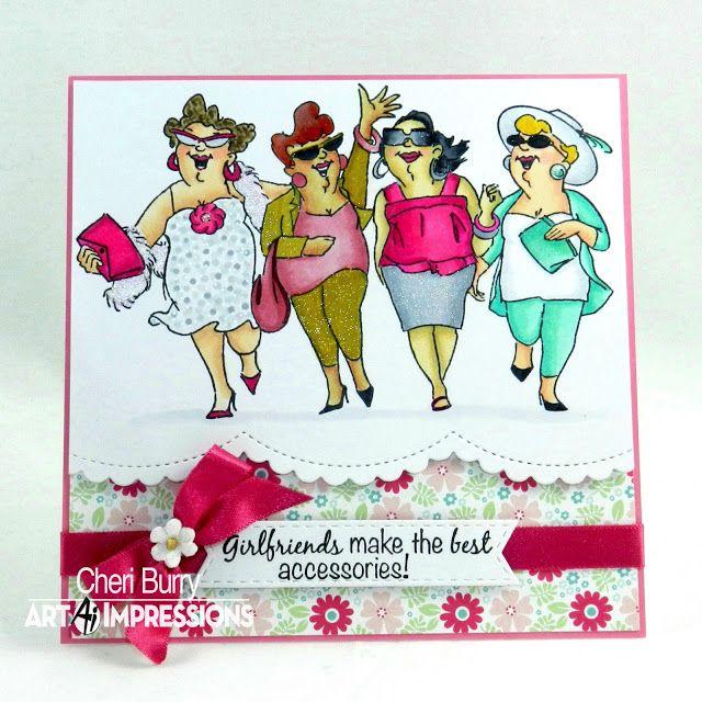 Art Impressions Rubber Stamps: Uptown Girls Set (Sku#4129) Ai Girlfriends...handmade card.