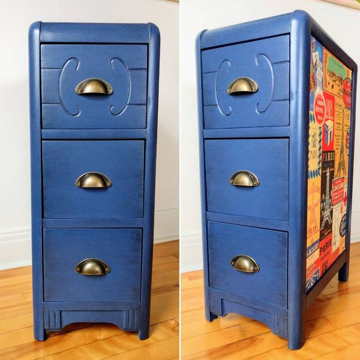 """Upcycling what's left of a former Art Déco dressing table into a 3 drawer accent furniture. I used Navy Blue Country Chic paint, graphite glaze to add a deeper look and tough coat to seal the whole piece. This item is for sale (17""""L x 11"""" W x 29"""" H). Please contact me for more info.  #artdecofurniture #furnituremakeover #furnitureflip #upcycledfurniture #vintagenightstand #vintagefurniture #countrychicpaint #navybluefurniture #furnitureforsale #forsale #refurbishedfurniture #graphiteglaze"""