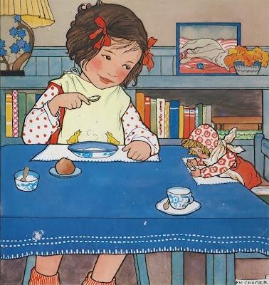 Dolly needs a dish of porridge... - art by Rie Cramer