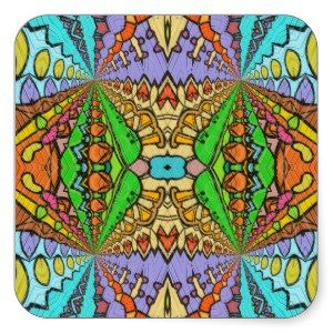 colorful kaleidoscopic pattern square stickers from Zazzle.com