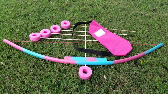 Pink/Blue Kids Toy Bow set with 5 Arrows and Quiver bag. PVC and Wooden bow. Kids Bow and Arrow Set. Toy Bow Set