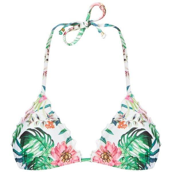 Amir Slama Printed Triangle Bikini Top ($143) ❤ liked on Polyvore featuring swimwear, bikinis, bikini tops, tankini tops, swim suit tops, triangle swimsuit top, multi color bikini and floral-print bikinis