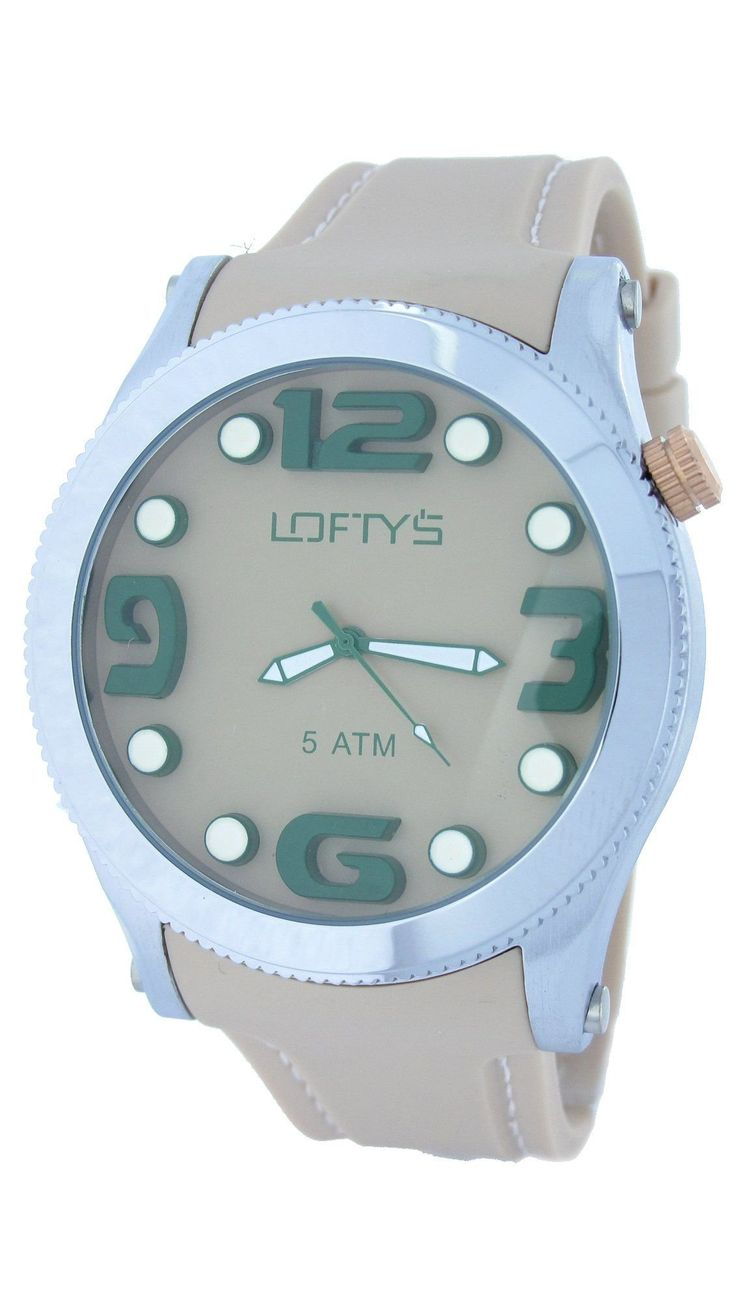 XL Watch with Beige Silicone Strap Y 3403BE - https://www.loftyswatches.com/shop/xl-watch-beige-silicone-strap-y-3403be/
