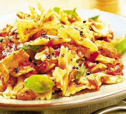 Might make this for tea one day this week! Looks like an easy, quick pasta sauce :)    http://www.bbcgoodfood.com/recipes/1965/pasta-with-tuna-and-tomato-sauce