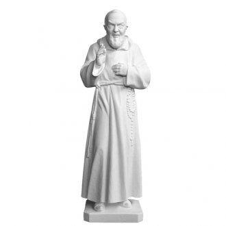 Padre Pio 30 cm polvere di marmo bianco | vendita online su HOLYART