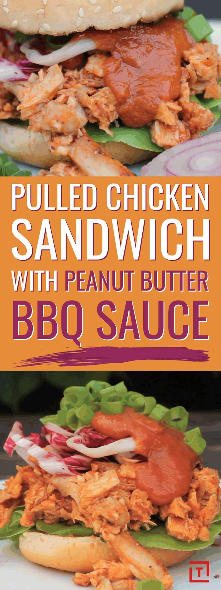 Dinner's a no-brainer thanks to this pulled chicken with homemade peanut butter BBQ sauce. Throw it on a bun and top with lettuce, red cabbage, red onion, spring onions, and more peanut butter BBQ sauce for a chicken dinner that's anything but ordinary.
