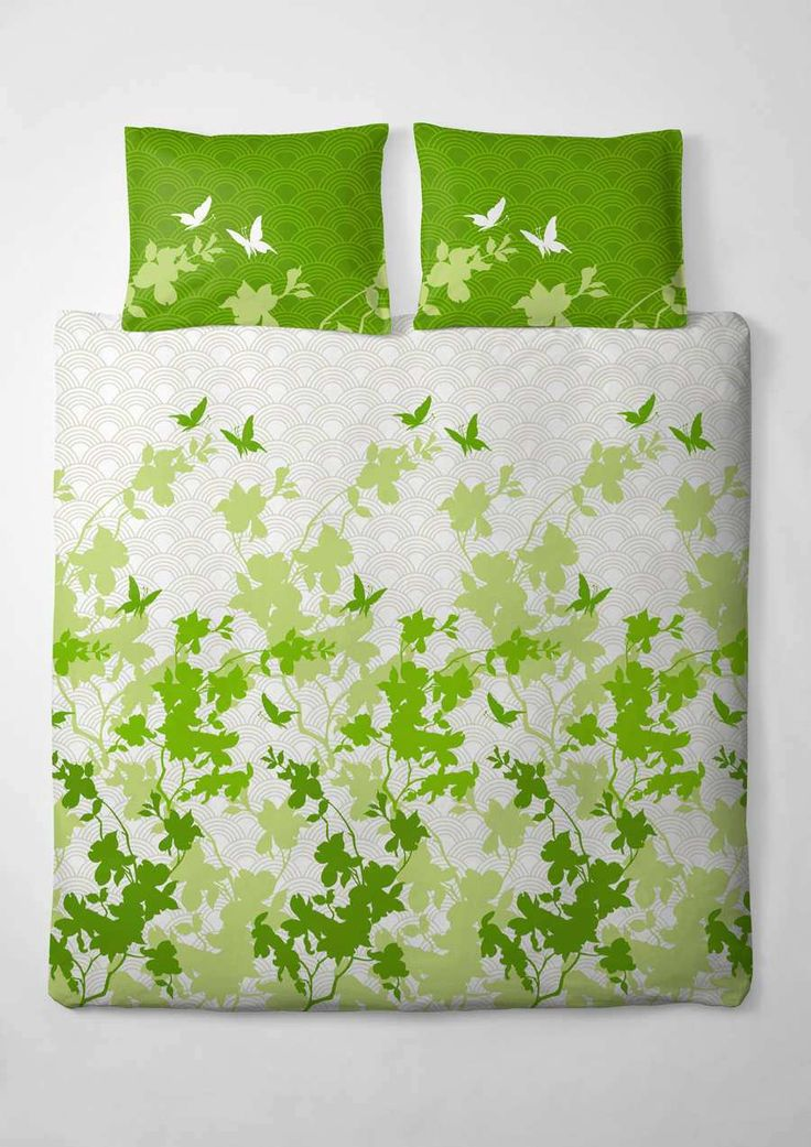 Grüne Bettwäsche mit Schmetterlingen für den Sommer :)