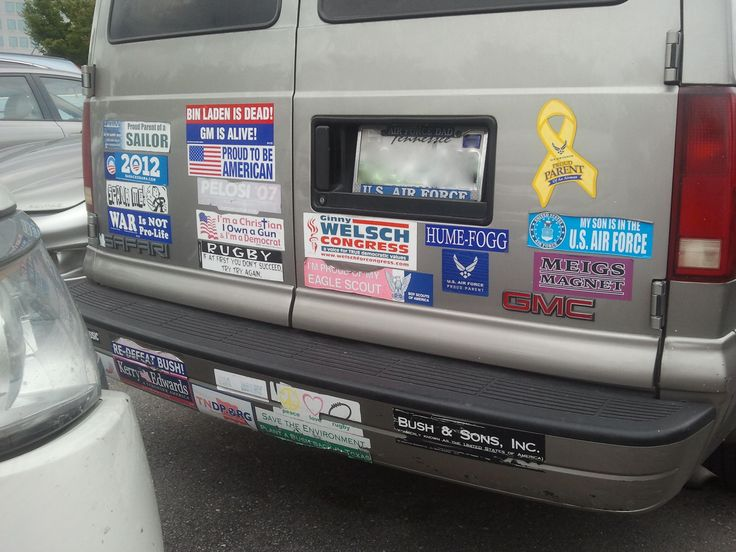 Bumper stickers. Even though Americans generally don't talk about politics and religion when they meet someone for the first time, bumper stickers seem to be one way of circumventing this kind of indirectness... It's a silent, indirect way way of being very direct and vocal.