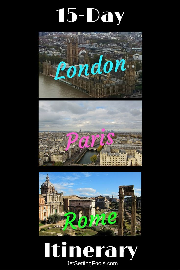15-Day London, Rome, Paris Itinerary: I was intrigued, not only by the sightseeing they were able to accomplish with their 15-day London, Paris, Rome Itinerary, but also by how efficiently they were able to do so. For the first-time traveler to Europe or for the traveler who only anticipates ever going once, it's an ideal itinerary that succinctly hits all the major sights and then some