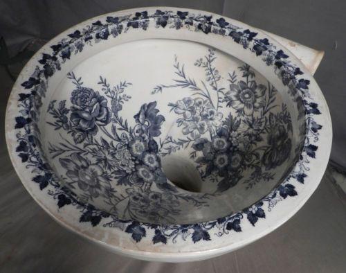 Antique-Victorian-Transferware-China-Bidet-Toilet-Bowl-English-Steam-Punk-ROSES