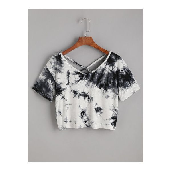 SheIn(sheinside) Tie Dye Criss Cross Back Crop T-shirt ($10) ❤ liked on Polyvore featuring tops, t-shirts, black and white, vintage tees, vintage t shirts, scoop-neck tees, scoop neck tee and crop tee