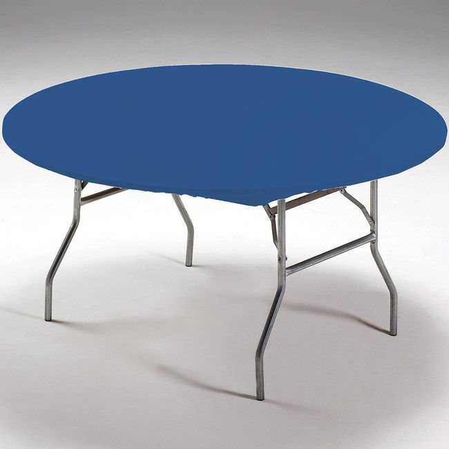 Blue Round Stay Put Elastic Fitted Plastic Tablecloth Table