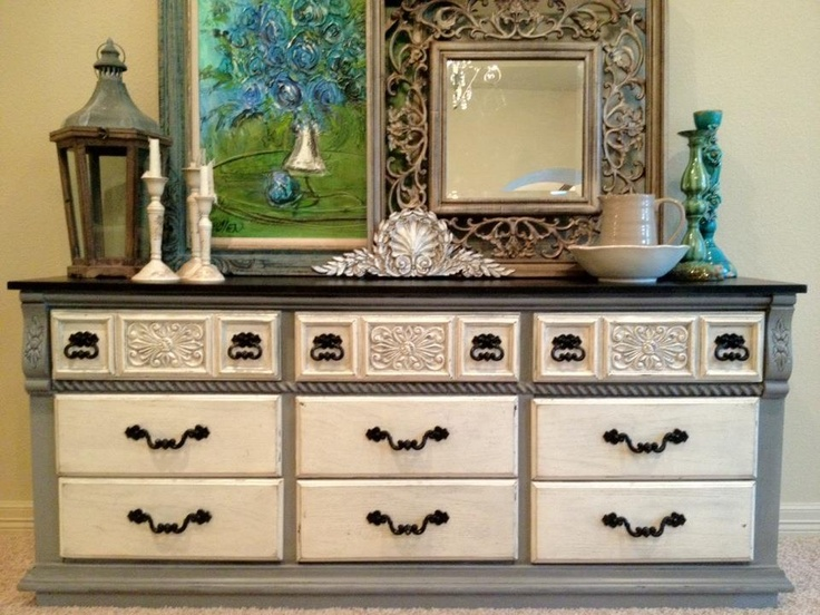Dresser Media Cabinet Buffet Refinished In Black On Smoky