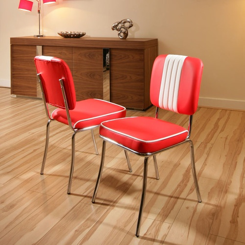 Set of 2 x american 50s diner style dining chairs chair for Dining room chairs 50