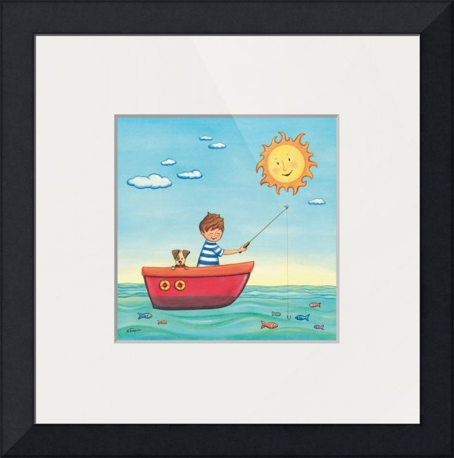 """""""Fishing Summer Joy"""" by Nopi Pantelidou, Thessaloniki // A cute Boy fishing with his dog on a sunny day. Watercolor painting. // Imagekind.com -- Buy stunning fine art prints, framed prints and canvas prints directly from independent working artists and photographers."""